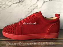 Christian Louboutin Flat Low Top Sneaker Red Suede