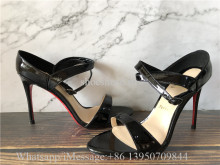 Chrstian Louboutin Liloo Patent Ankle-Strap Red Sole Sandals