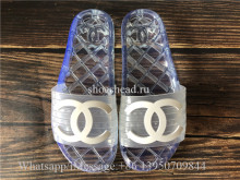 Chanel 19ss CC Logo Transparent PVC Slide White