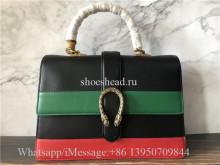 Original Quality Gucci Calfskin Large Dionysus Bamboo Top Handle Bag Black