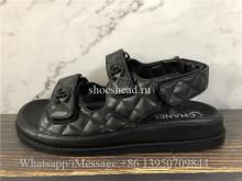 Chanel Dad Sandals Black Leather Sandals