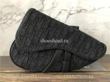 Original Dior Saddle Bag Oblique Jacquard Black