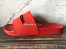 Balenciaga Red Slide With Balenciaga Logo