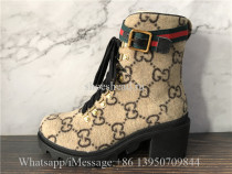 Gucci Lace-up Boots GG Supreme Wool With Web Buckle
