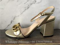 Gucci GG 75mm Marmont Metallic Gold Sandals