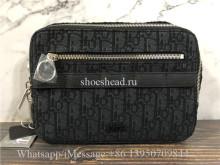 Original Black Dior Oblique Jacquard And Black Grained Calfskin Safari Messenger Bag