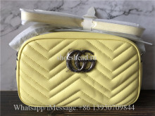 Original Gucci GG Marmont Small Shoulder Bag In Pastel Yellow Leather