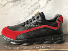 Verace Black Leather Shoes Red Suede