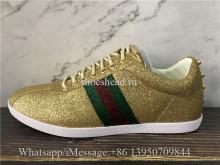Gucci Metallic Gold Glitter Bambi Sneakers