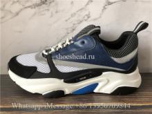 Super Quality Dior B22 Sneaker Black Calfskin Technical Knit Blue Grey Black