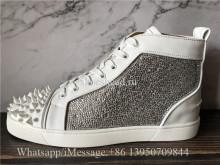 Christian Louboutin Spike Flat High Top Sneaker Diamond