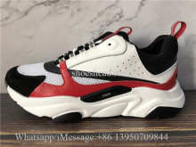 Super Quality Dior B22 Sneaker Black Calfskin Technical Knit Red Black White