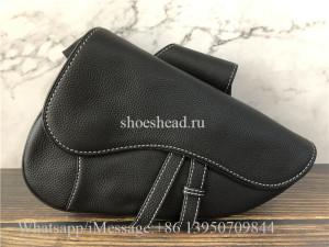 Original Quality Christian Dior Black Leather Saddle Bag