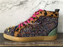 Christian Louboutin Spike Flat Hig Top Sneaker Purple Golden Rose Pink