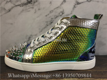 Christian Louboutin Spike Flat High Top Sneaker Fish Scale Pattern