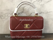 Original Chanel Lambskin Red Small Flap Bag With Top Handle