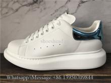 Super Quality Alexander McQueen Oversized Leather Platform Sneaker White Ballroom Blue
