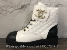 Chanel Lace-UPS Lambskin & Calfskin Ivory Black Boots