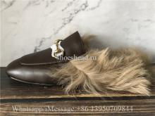 Gucci Princetown Fur Lined Brown Slipper Loafer Slides