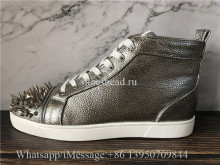 Christian Louboutin Spike Flat High Top Sneaker Sliver