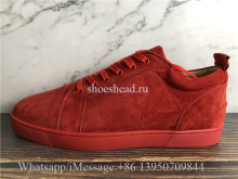 Christian Louboutin Flat Low Top Shoes Red Suede