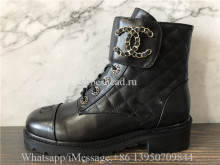 Chanel Black 20a Quilted Gold Cc Chain Combat Lace Up Tie Ankle Boots