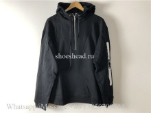 Gucci Half Zip Popover Logo Print Hooded Sweatshirt Black(US Size)