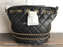Original Chanel Grained Calfskin Quilted Golden Chain Bucket Bag Black