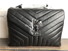 Original YSL Saint Laurent Envelope Shoulder Bag Matelasse Grained Leather Black-tone
