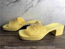Gucci Rubber Logo Platform Slide Sandal Yellow