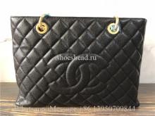 Original Chanel Caviar Leather Grand Shopping Tote Bag