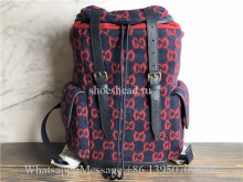Original Gucci Monogram Print Backpack Red Navy Tones Leather Wool