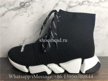 Balenciaga Speed 2.0 Lace Up Sneakers Black White