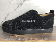 Christian Louboutin Flat Low Top Shoes Black Diamond