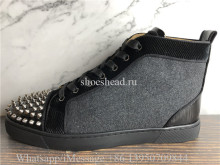 Christian Louboutin Spike Flat High Top Sneaker Grey Wool