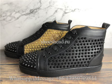 Christian Louboutin Spike Flat High Sneaker Black Golden