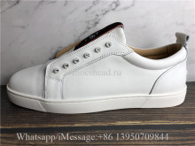 Christian Louboutin Flat Low Top Shoes White Leather