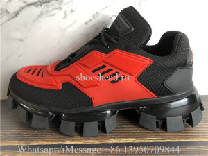Prada Cloudbust Thunder Low Top Sneakers Black Red