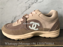 Chanel Low Top Trainer CC Suede Orange Pink Brown