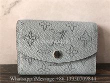 Original Louis Vuitton LV Iris Compact Wallet Blue Mahina Leather M64050