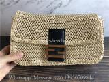 Original Fendi Iconic Large Baguette Bag Beige Woven Straw FF Clasp