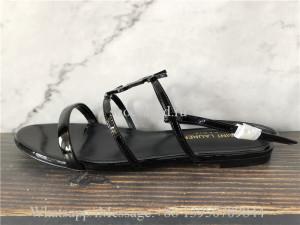 Saint Laurent Cassandre YSL Logo Flat Patent Sandals Black