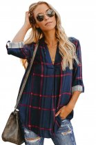 Ladystar Navy Red Tricolor Plaid V Neck Blouse