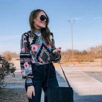 Ladystar Black Bohemian Floral Print Smocked Long Sleeve Blouse
