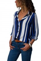 Ladystar Blue White Striped Long Sleeve Button Down Shirt