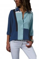 Ladystar Navy Blue Color Block Long Sleeve Button Down Shirt