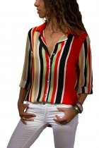 Ladystar Red Multicolor Stripe Long Sleeve Button Down Shirt