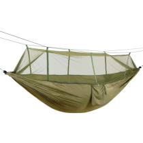 Portable Outdoor Camping Hammock with Mosquito Net 1-2 Person High Strength Parachute Fabric Hanging Bed Hunting Sleeping Swing