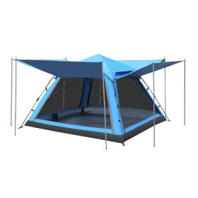 Tentsme Blue Air Instant Tent Waterproof 3 4 Person Family Camping With 4 Doors 4 Windows 3 4 Season Cabin 210D Oxford Cloth 85'x85'x57'