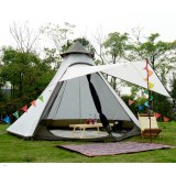 Tentsme Camping Canvas Outdoor Indian Teepee Tent For 4-5 Person, 12'x10'x8'
